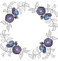 Blue and violet rose border vector image