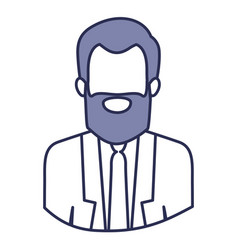 Blue contour of half body of faceless bearded man vector