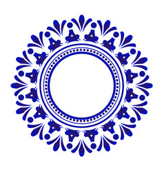 Blue floral round frame vector