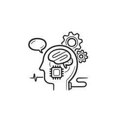 Brain machine interface hand drawn outline doodle vector