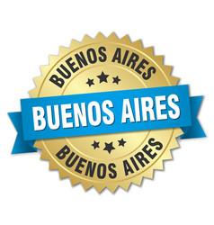 Buenos aires round golden badge with blue ribbon vector