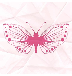 Butterfly-blot on crumpled paper vector