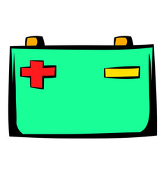 Car battery icon cartoon vector