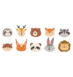 cartoon avatar cute wild animals collection vector image
