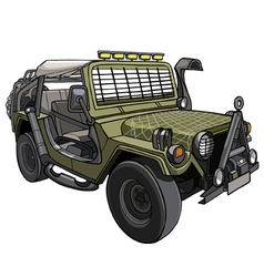 Cartoon car Military SUV with awning and canopies vector