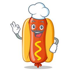 Chef hot dog cartoon character vector