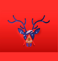 christmas paper cut deer and winter house isolated vector image