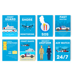 Coast guard day cards set guarding the order of vector