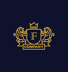 Coat of arms letter f company vector