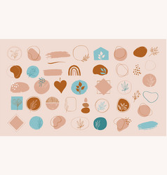 collection hand drawn abstract brush vector image
