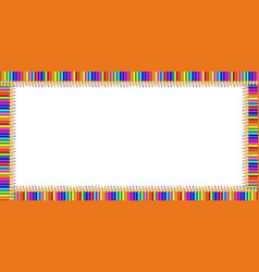 colorful rectangle border made of pencils on vector image