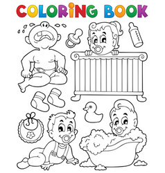 Coloring book babies theme image 1 vector