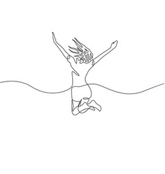 continuous one line drawing jumping girl vector image