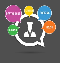 cooking icon with speech bubble pointer vector image