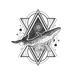 Creative geometric whale tattoo art style vector