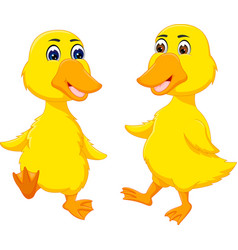 Cute baby duck cartoon dancing with smile vector
