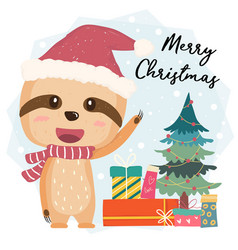 Cute happy smilling sloth flat with gift boxes vector