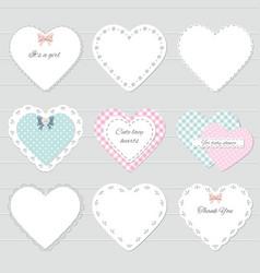 Cute lacy textile hearts set vector image