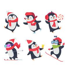 Cute penguins cartoon characters baby sweet wild vector