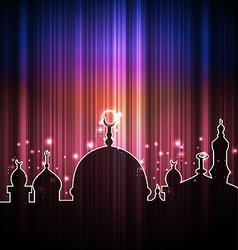 Cute shine card with mosque vector image