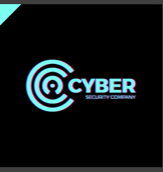 Cyber security and defender line letter c vector