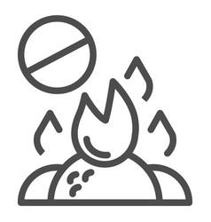 Do not burn waste line icon burning garbage ban vector