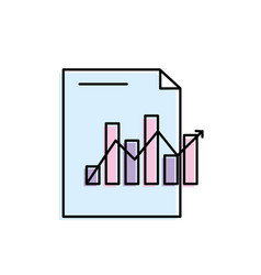 document with statistics bar diagram and arrow vector image