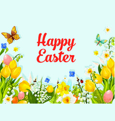 easter spring flowers holiday greeting card vector image