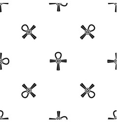 egypt ankh symbol pattern seamless black vector image