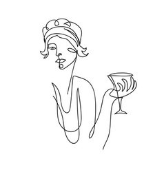 Flapper girl from 20s black and white vector
