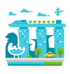 Flat design singapore landmarks vector
