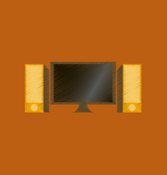 Flat shading style icon computer monitor and vector