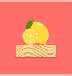 fresh lemon on wood chopping block vector image