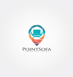 Furniture logo templatepin and seat icon vector
