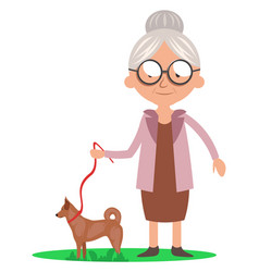 Granny with dog on white background vector