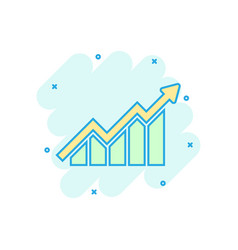 Growing bar graph icon in comic style increase vector