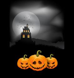 halloween background pumpkins and spooky castle vector image