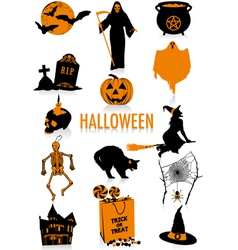halloween silhouettes vector image