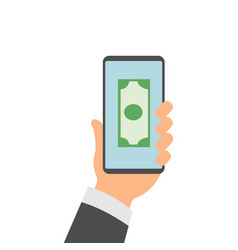 hands holding smartphones with mobile banking app vector image
