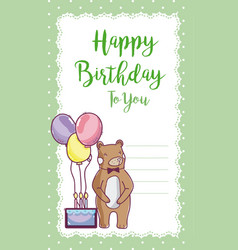 Happy birthday card with bear vector