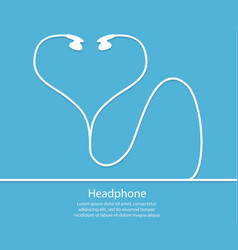 headphones with a wire on a blue background outli vector image