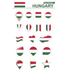 Hungary flag collection big set for design vector