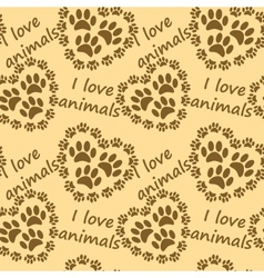 I love animals pattern vector image