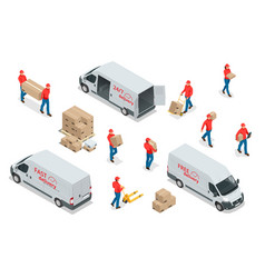 Isometric icons delivery cars and deliveryman vector