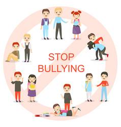 Kids bullying set vector