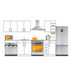 Kitchen interior design template with appliances vector