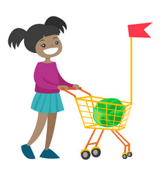 little african girl walking with shopping cart vector image