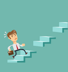 man climbs the steps of collapsing ladder vector image