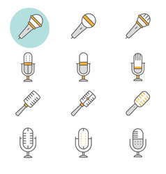 Microphone flat line icon set vector