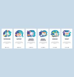 mobile app onboarding screens office paperwork vector image